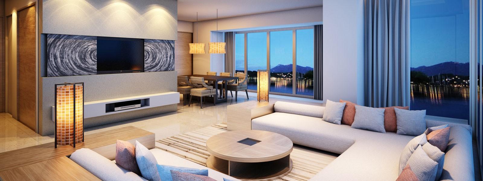 image of contemporary condo living room
