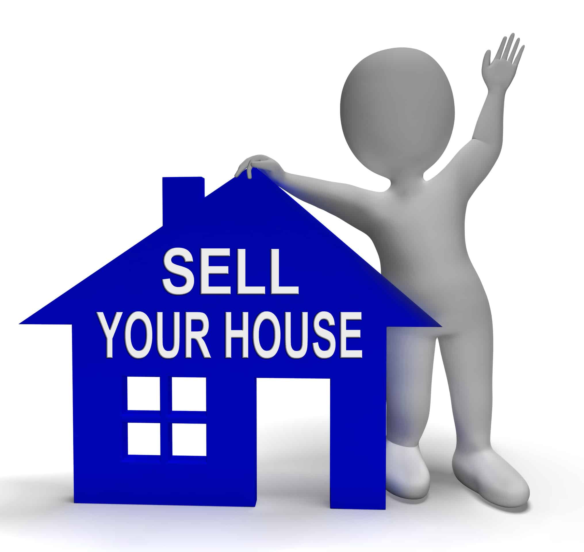 House Symbol And 3d Character Showing Real Estate