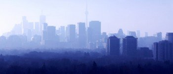 Panorama of Toronto downtown and midtown in foggy morning